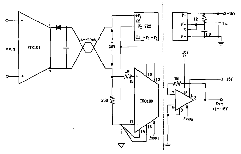 Isolated two-wire current loop circuit diagram XTR101