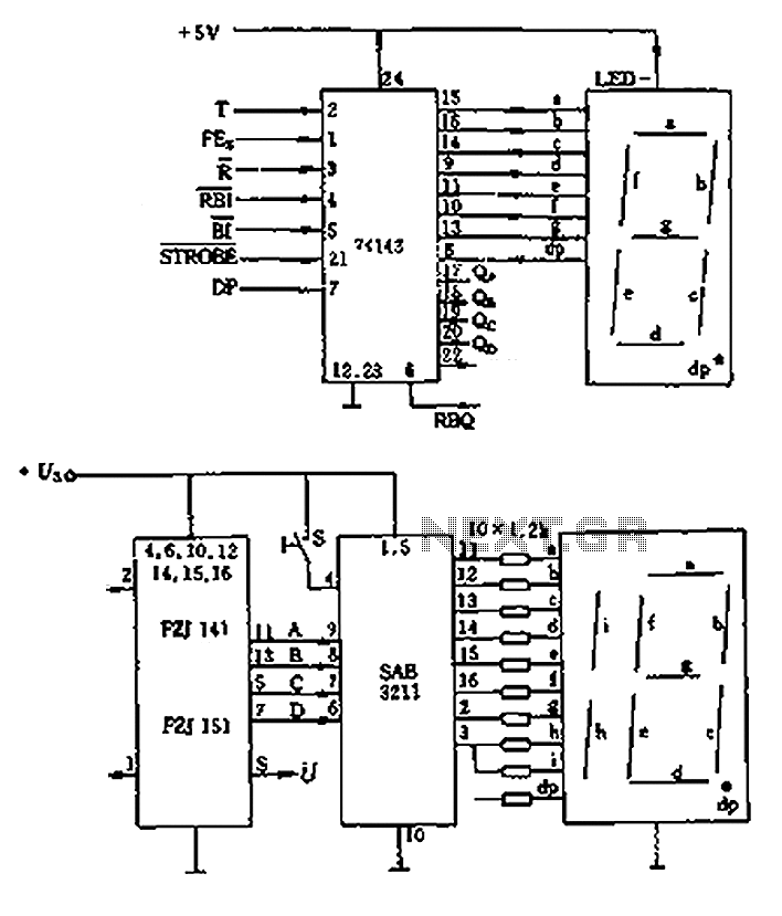 LED display control circuit diagram of a counter under