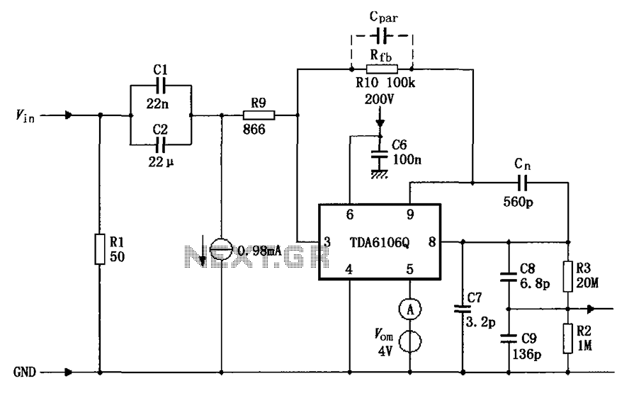 TDA6106Q having a feedback factor of the test circuit