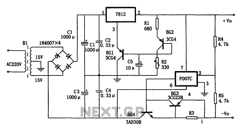 Temperature compensation of the symmetrical power supply