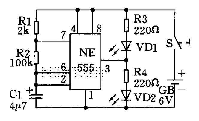 The use of low frequency oscillation base 555 circuit made