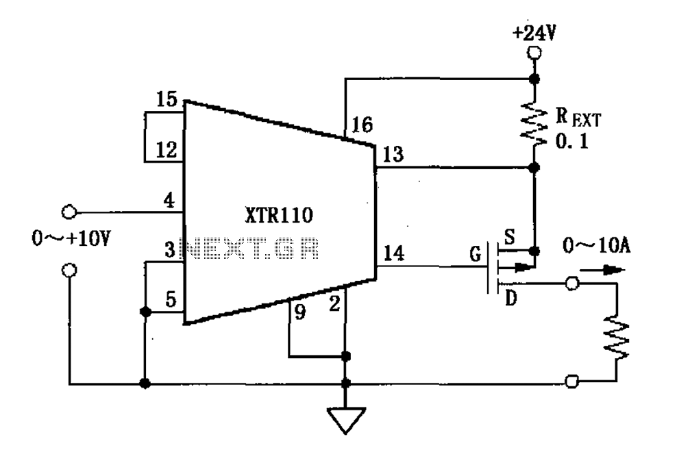 > converters > XTR110 voltage current converter circuit