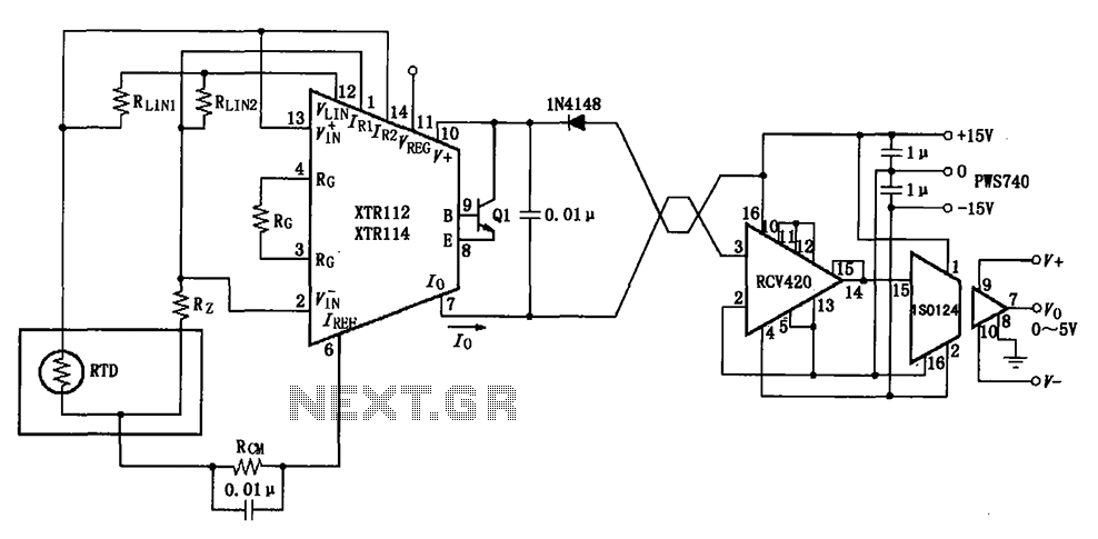 XTR112 114 isolated transmit receive circuit diagram of
