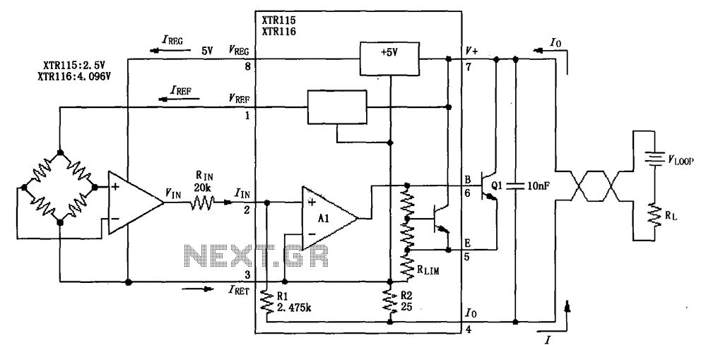 XTR115 116 Basic circuit diagram connection under Other