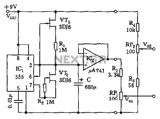 555 ultra-low frequency signal generator circuit diagram
