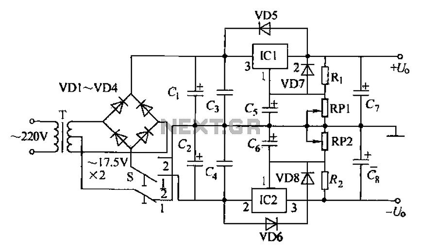 Dual adjustable power supply circuit : Power Supply