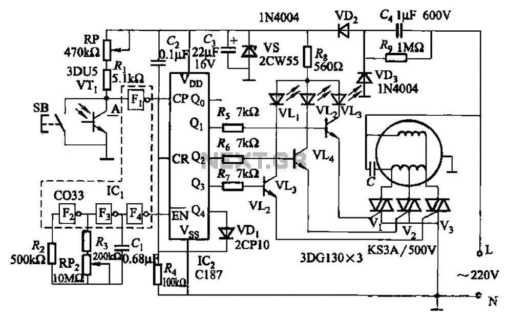 Fans can light three-gear speed control circuit under