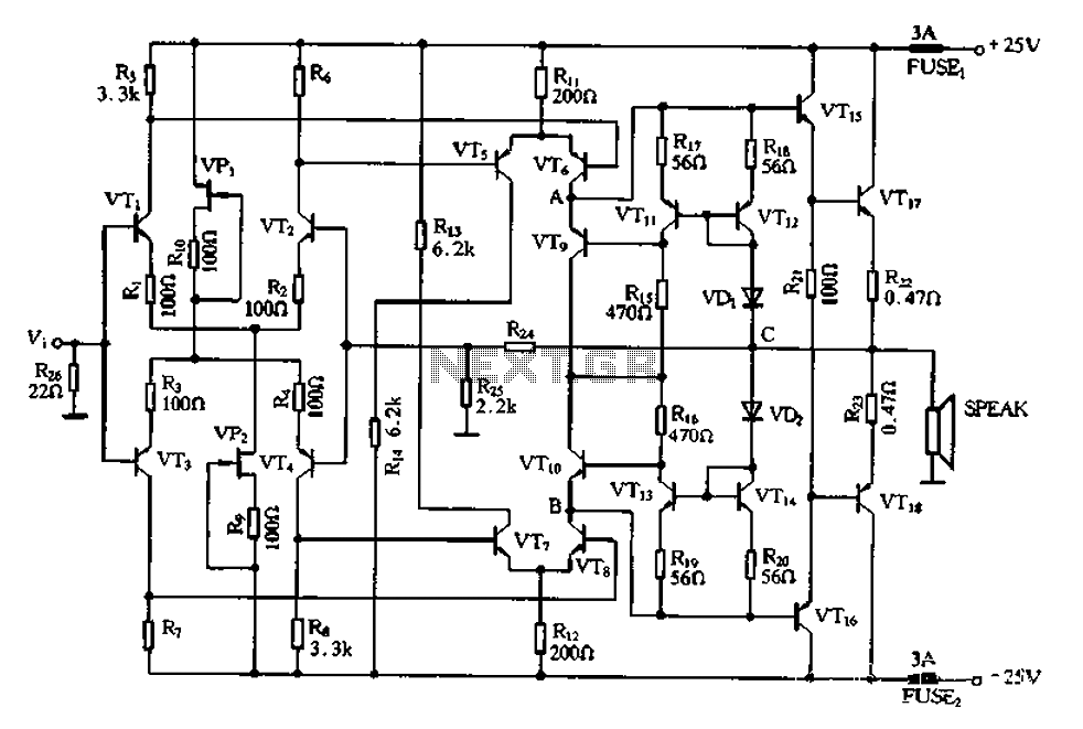 > other circuits > Full complementary symmetry amplifier