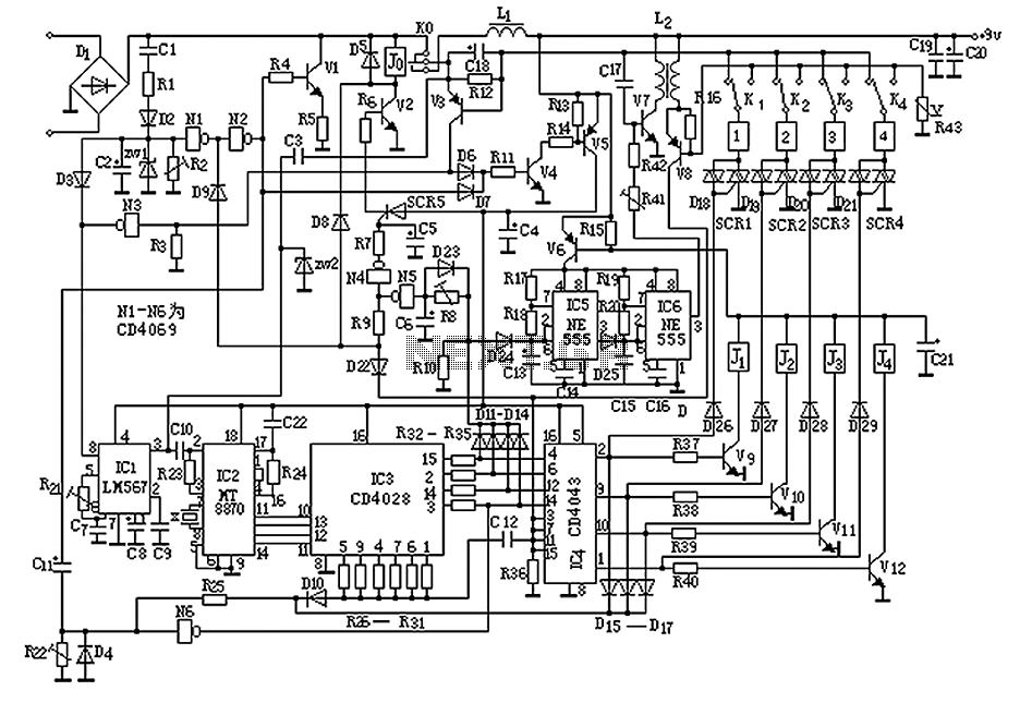 > telephone > Homemade small telephone PBX circuit diagram