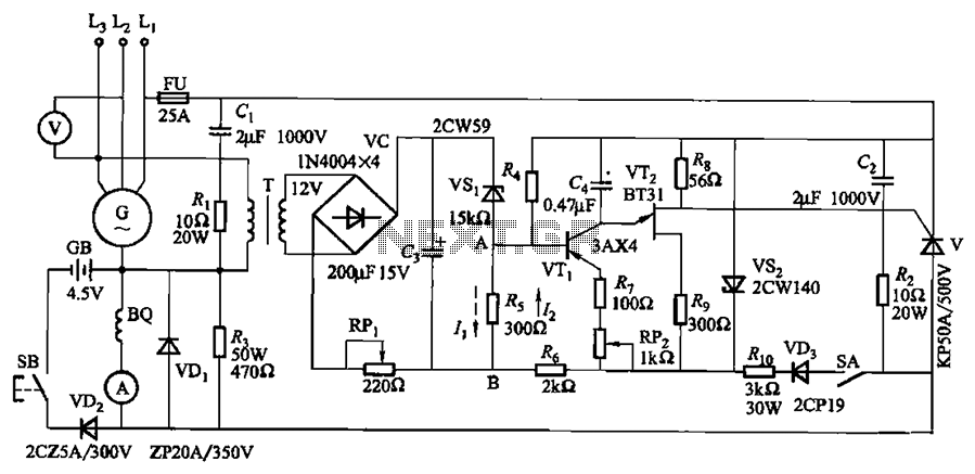 KL-25 type automatic thyristor excitation device circuit