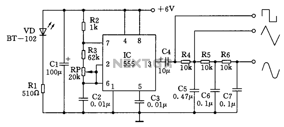 Multiple waveform generator circuit diagram under