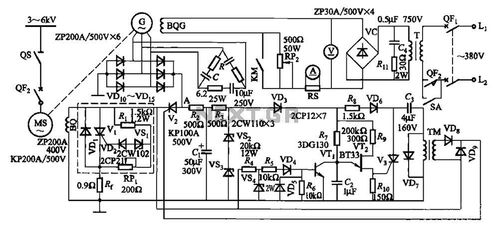 One synchronous motor thyristor excitation circuit under