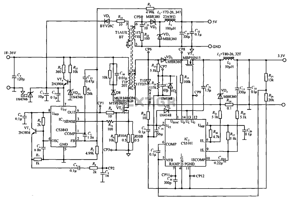Output by the CS3843 and CS5101 composed of 5V 3.3V