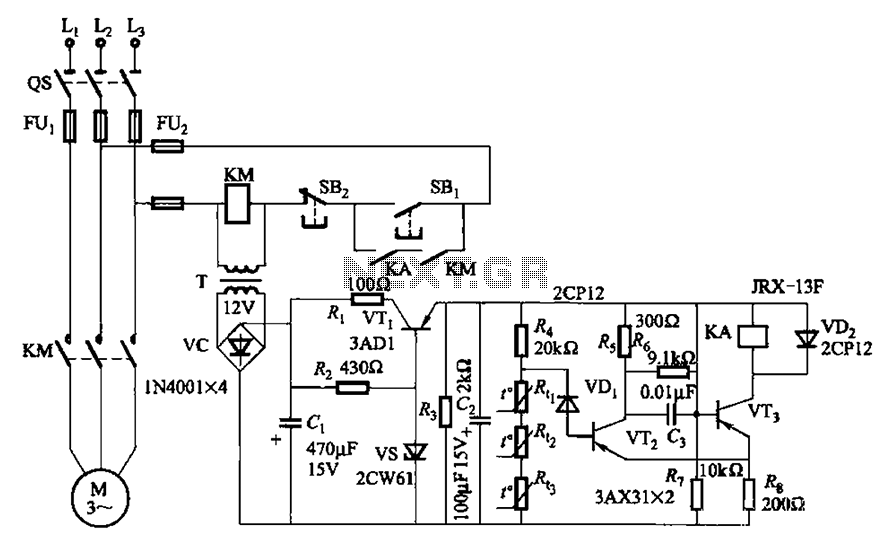 Three-phase asynchronous motor PTC protection circuits