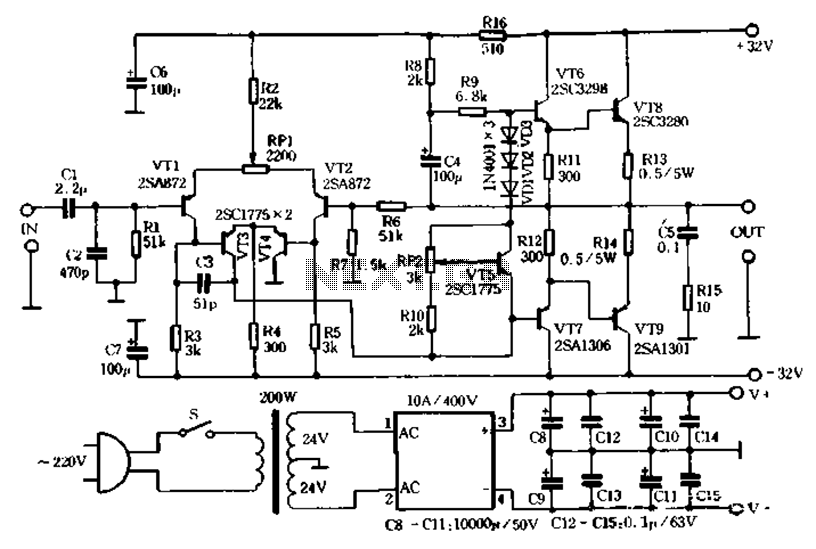 tda2009 stereo hifi class ab power amplifier circuit diagram