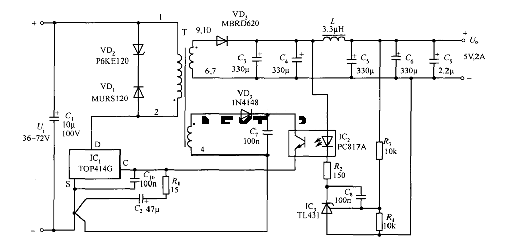 5V TOP414G 2A isolated switching power supply circuit