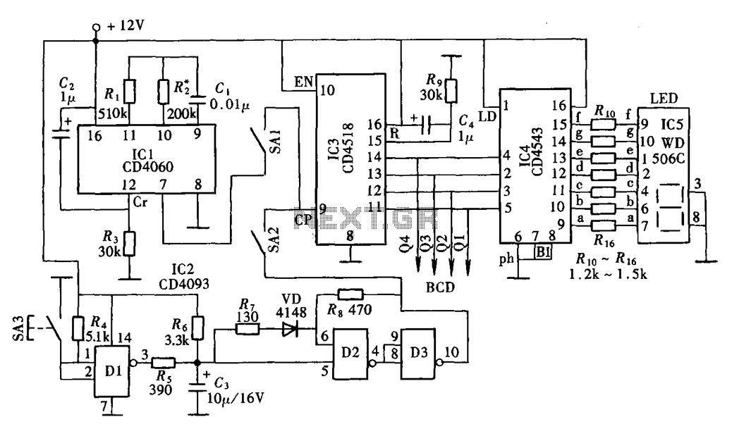 A digital display clock signal source CD4543 CD4060 CD4518