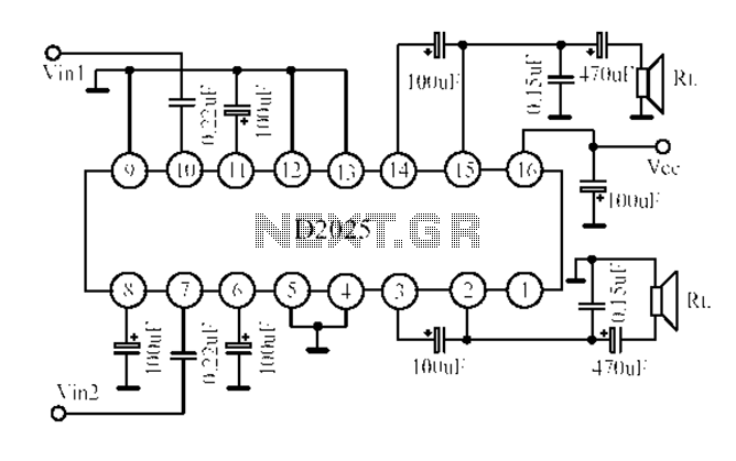 D2025 dual-channel audio amplifier circuit diagram under