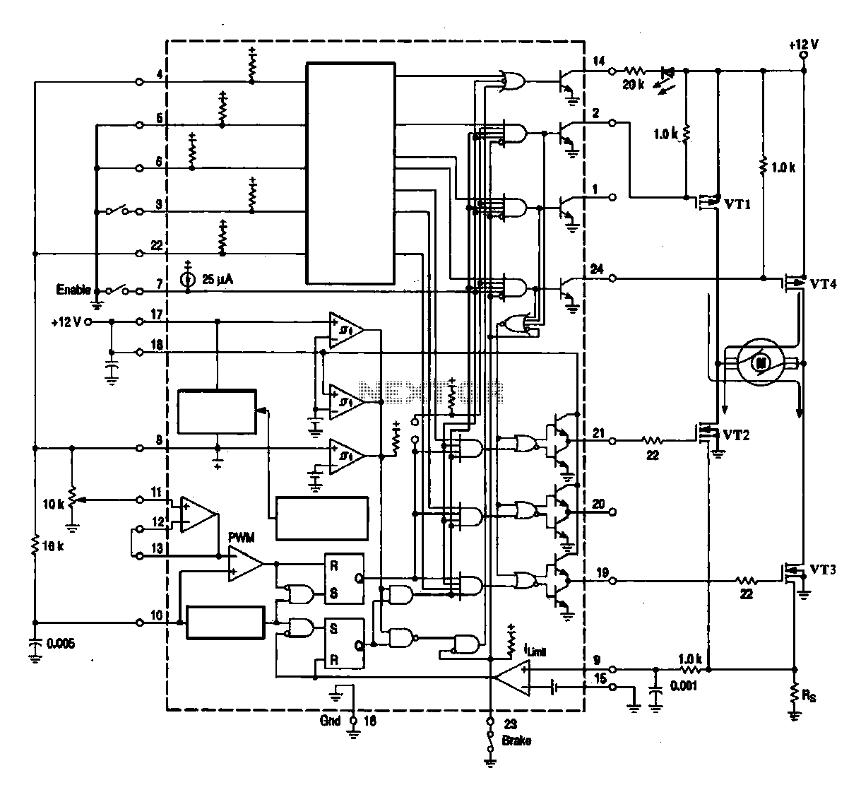DC brush motor driver circuit diagram : Motor Control