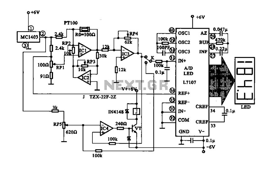 Digital display temperature detection circuit : Display