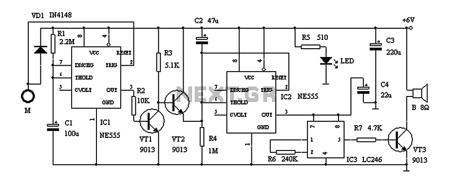 Door alarm circuit with a time of recognition NE555 under