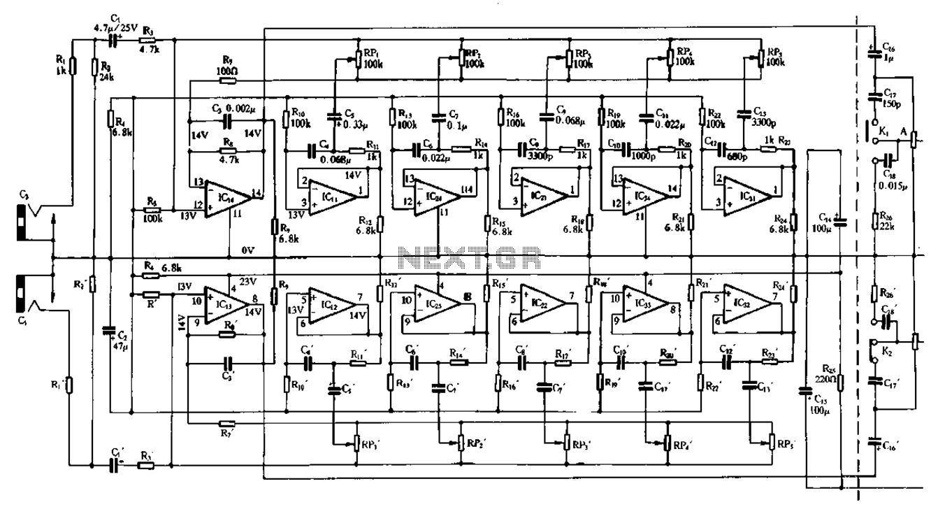 hight resolution of double five band equalizer circuit