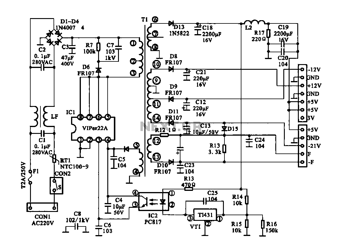 Circuit diagram of self switching power supply