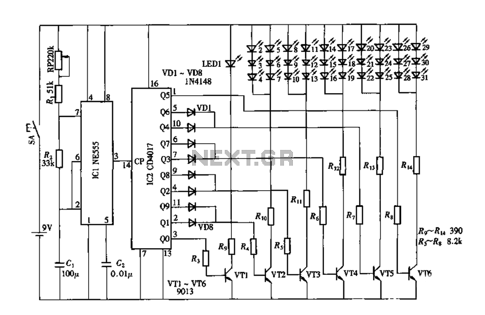 Electronic Peacock by the CD4017 NE555 circuit diagram