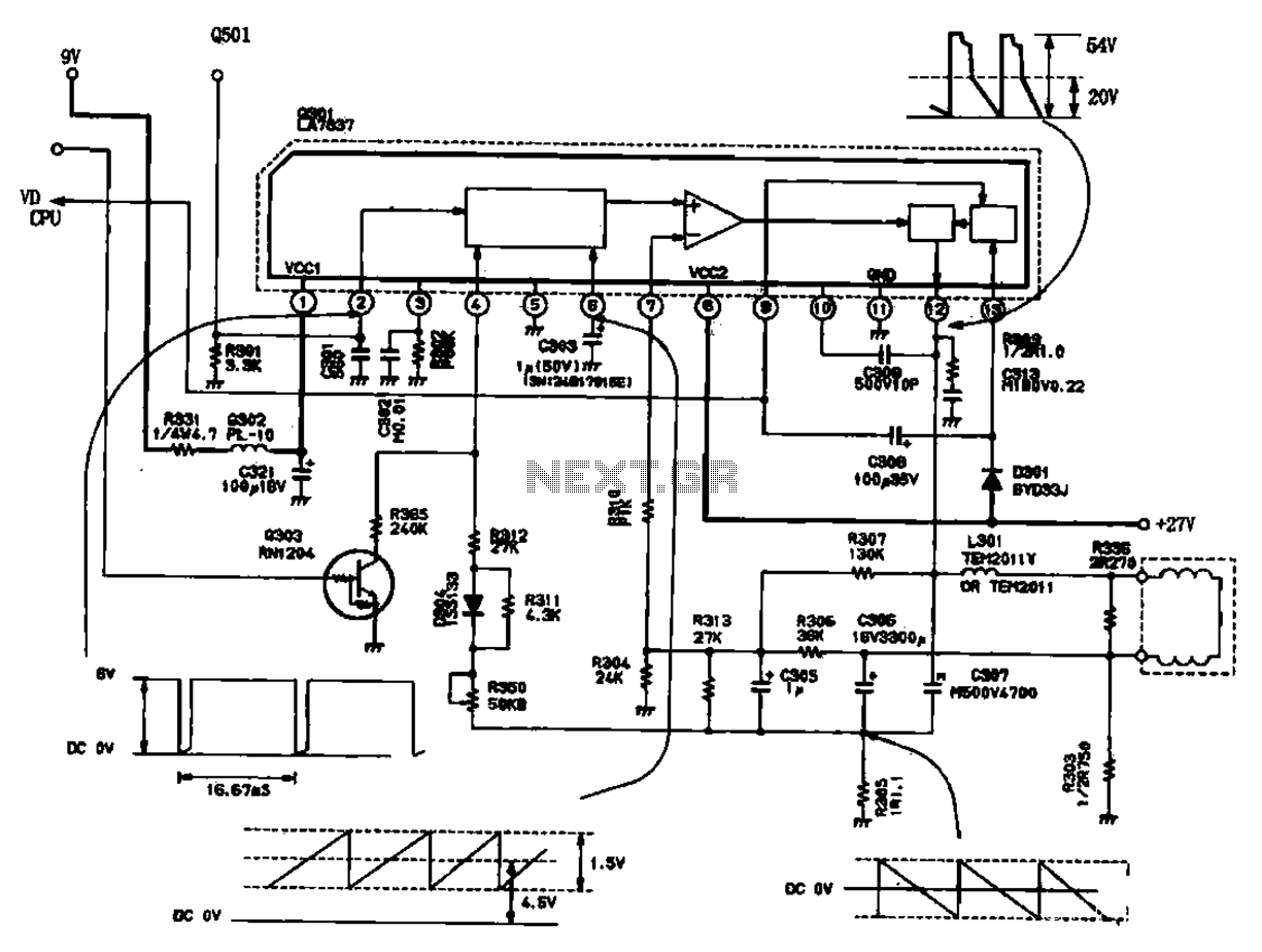 Field Scanning Circuit Circuit And Sawtooth Waveforms