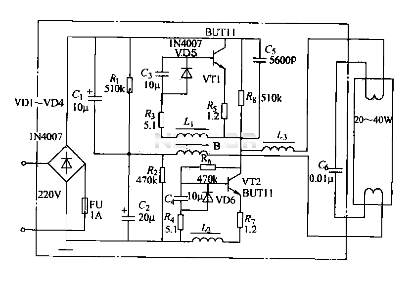 Fluorescent energy-saving electronic ballast circuit under