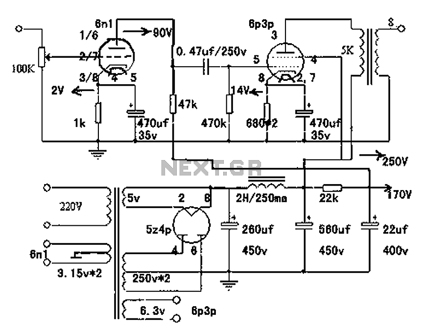 Single-ended Class A amplifier circuit diagram of 6N1