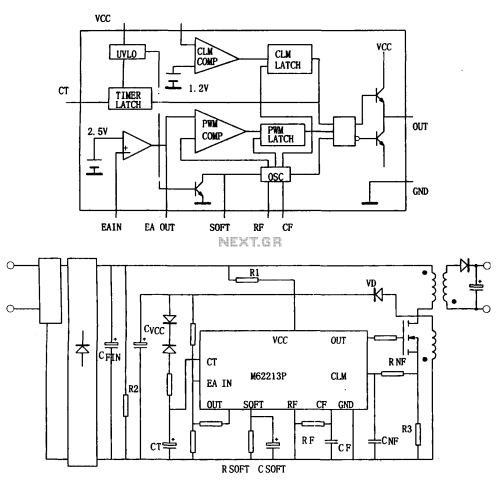 small resolution of switching power supply from the high speed switching power supply controller m62213fp