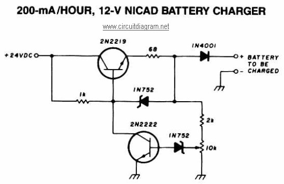 200mA per Hour 12V NiCAD Battery Charger circuit