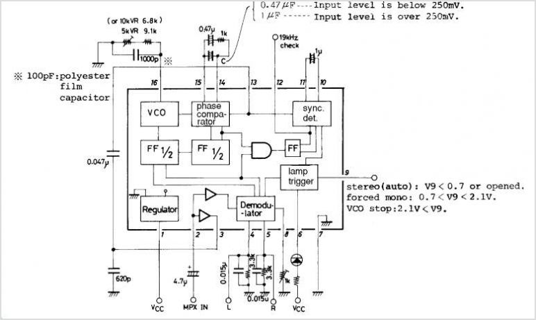 LA3361 PLL FM Multiplex Stereo Demodulator under