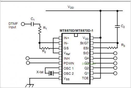 MT8870D Integrated DTMF Receiver With Enhance Sensitivity