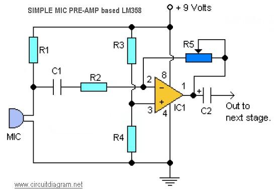 simple mic pre-amp based LM358