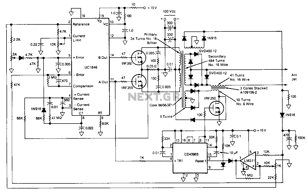 hight resolution of arc jet power supply and starting circuit