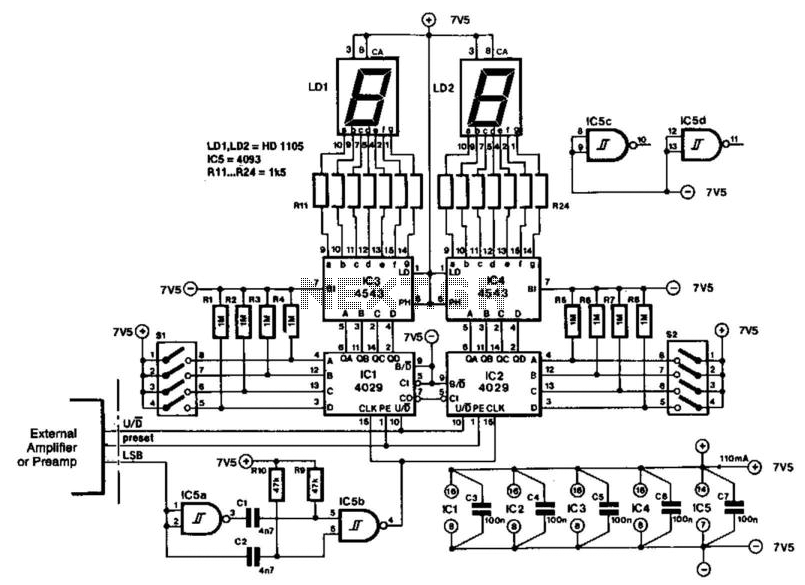 Audio Amplifier Volume Indicator under VU Meter Circuits