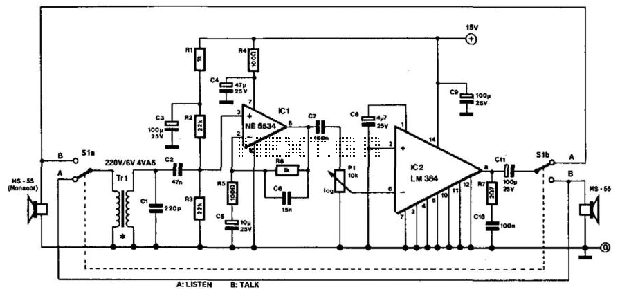 two wire intercom schematic
