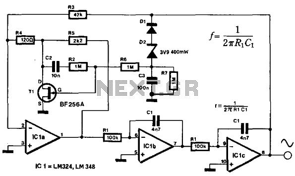 adjustable high low frequency sine wave generator circuit