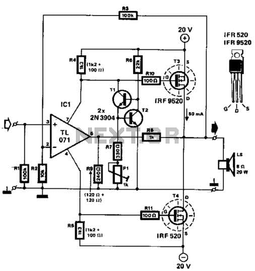 Mosfet Power Amplifier Circuit under Mosfet Circuits