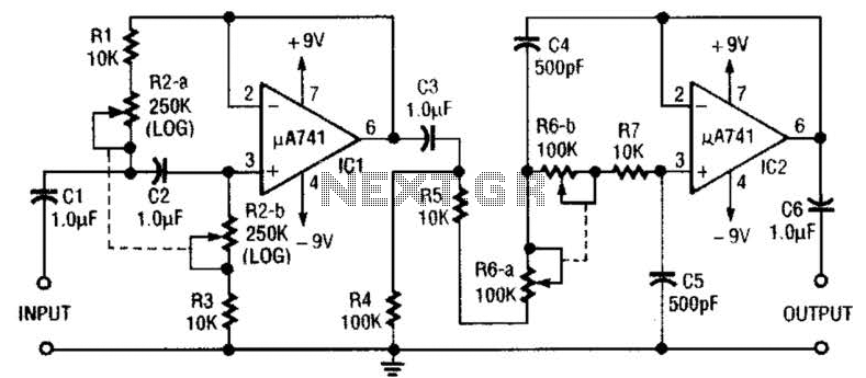 Variable Bandpass Audio Filter Circuit : Audio Filters