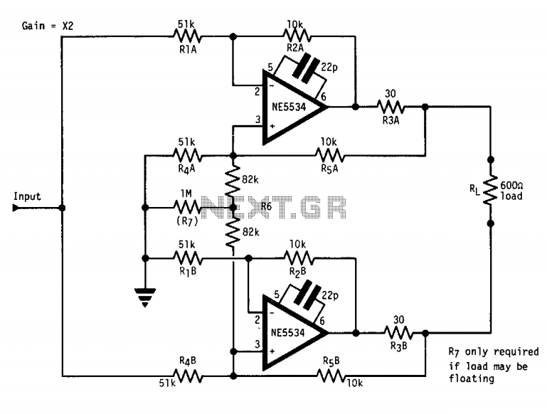 High output 600 Ohm line driver under RF Amplifier