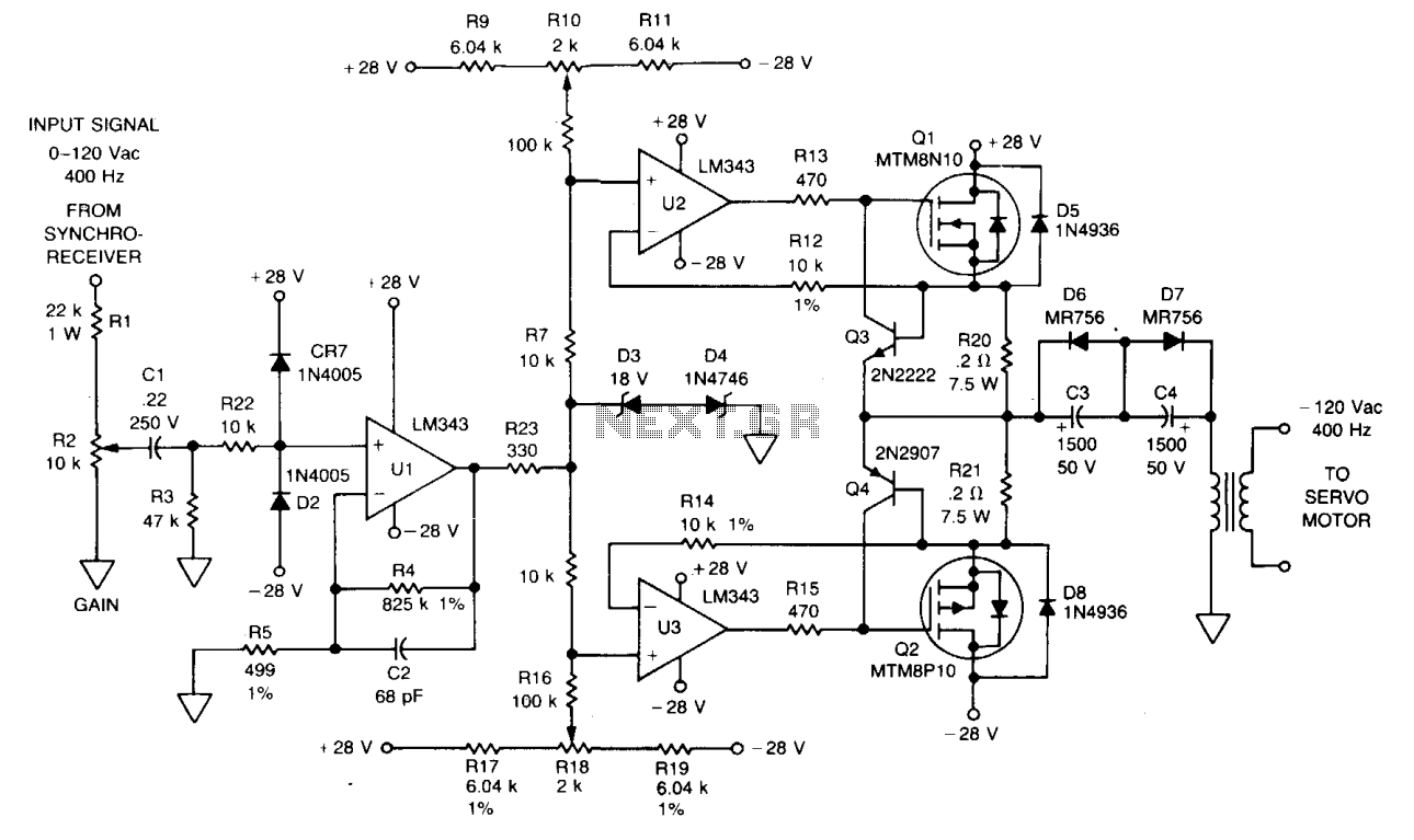 hight resolution of automations u003e servo circuits u003e 400 hz servo amplifier l12186 next gr power line amplifier circuit servo amplifier schematic