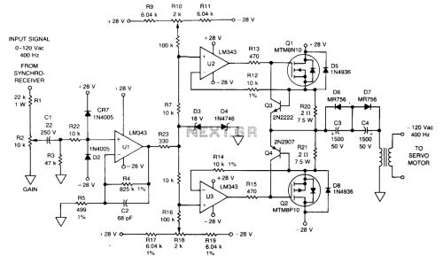 small resolution of automations u003e servo circuits u003e 400 hz servo amplifier l12186 next gr power line amplifier circuit servo amplifier schematic