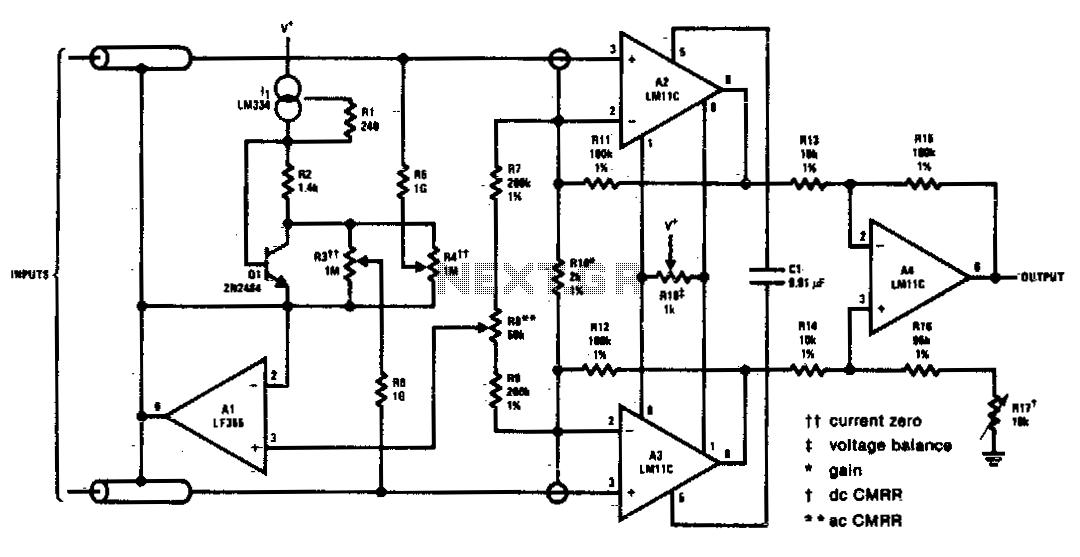 High gain differential instrumentation amplifier