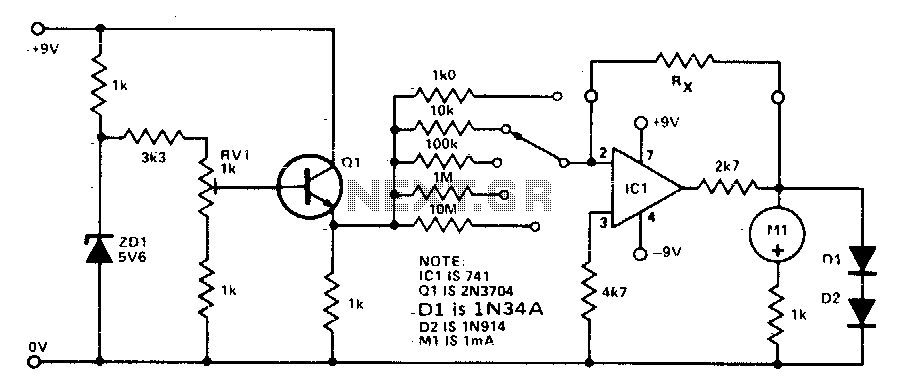 to measure resistance this diagram shows the circuit of an ohmmeter
