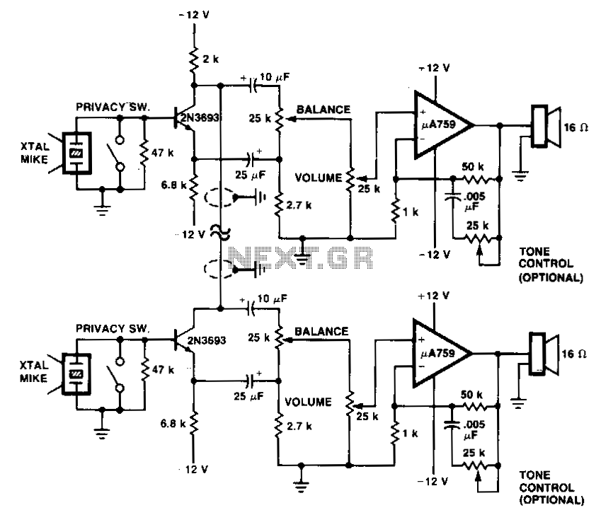 > telephone > intercom circuits > two wire intercom l14145