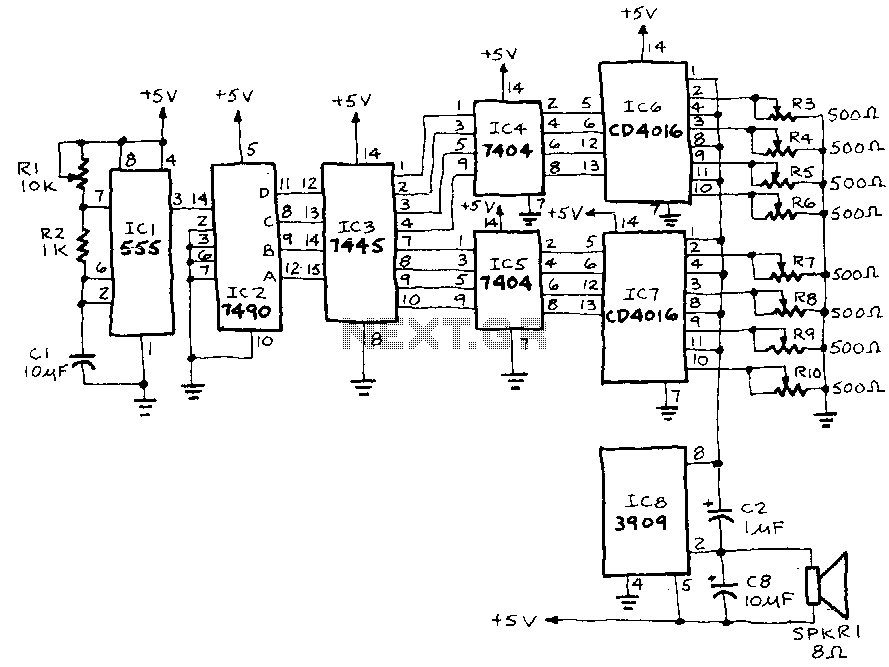 bcd counter circuit with 555 timer