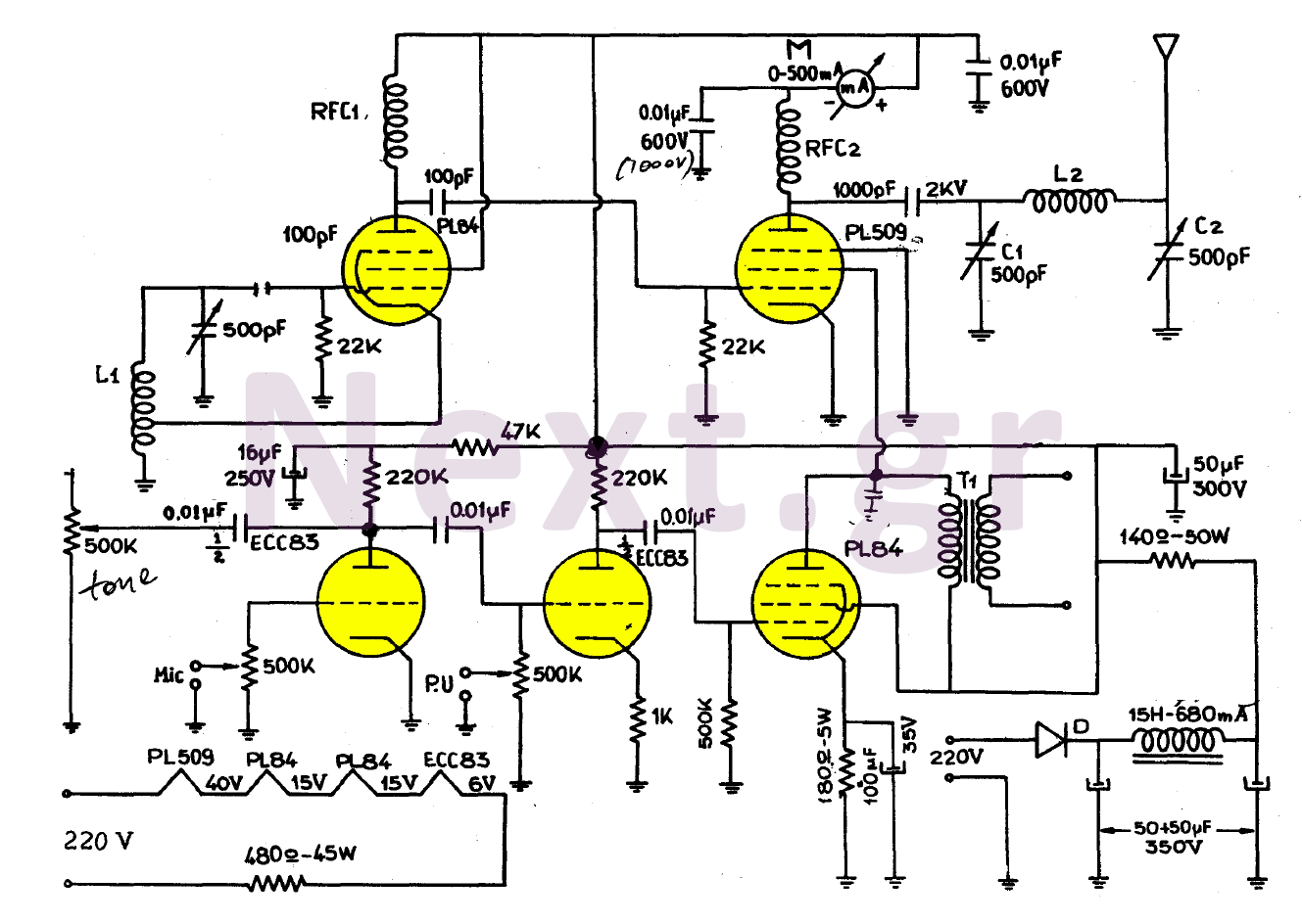 hight resolution of simple valve mw transmitter circuit 30w